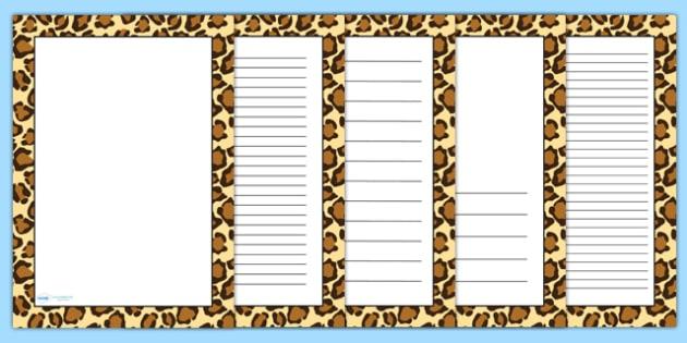 Leopard Pattern Portrait Page Border - safari, safari page borders, leopard page borders, leopard pattern page borders, safari animal pattern page borders