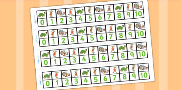 The Tortoise and The Hare Number Track 0 10 - counting aid, maths