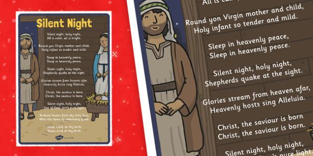 Silent Night Christmas Carol Lyrics Poster - silent night, christmas carol
