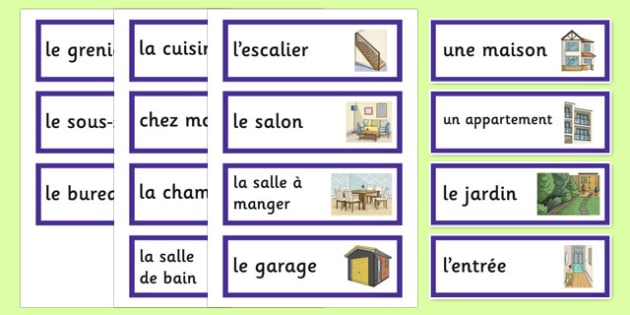 My Home Word Cards French - french, home, houses and homes, house, my home, word cards