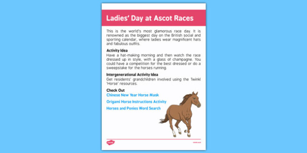 Elderly Care Calendar Planning June 2016 Ladies' Day at Ascot Races - Elderly Care, Calendar Planning, Care Homes, Activity Co-ordinators, Support, June 2016