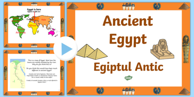 Ancient Egypt Powerpoint Romanian Translation - Ancient Egyptian, history, Egyptians, page border, border, writing template, writing aid, writing aid, Egypt, pyramids, hierogliphics, hieroglyphs, Pharaoh, hierogliphics, hieroglyphs, Tutankhamun, Giza