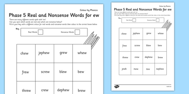 Phase 5 'ew' Colour by Phoneme Real and Nonsense Words - phase 5