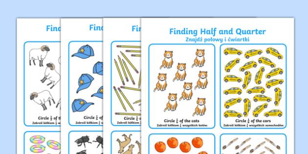 Finding Half and Quarter Activity Sheet Polish Translation - polish, KS1 Maths, half, quarter, whole, part of, find, solve, divided, shared, grouped, year 1, year 2, fractions, worksheet