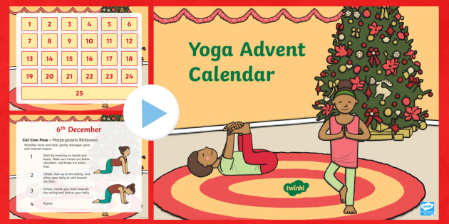 Yoga Advent Calendar PowerPoint - Advent, advent calendar, yoga, yoga poses, Christmas