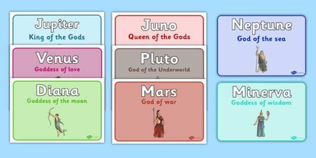 Roman Gods Table Group Signs One-Sided - roman gods, table, group signs, one sided, group, signs, display