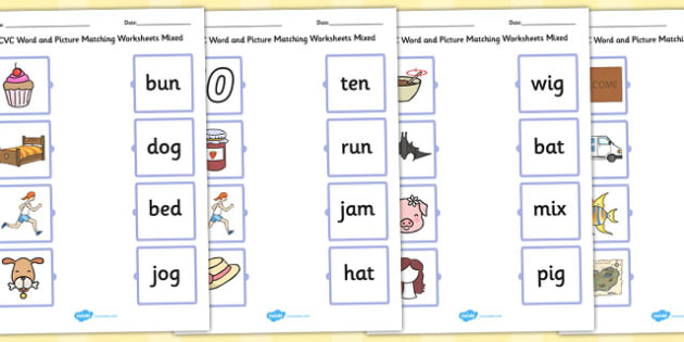 CVC Word and Picture Matching Worksheets Mixed - cvc, matching