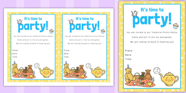 Nursery Rhyme Themed Picnic and Party Invitation - invitation