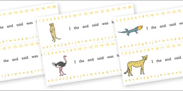 Combined Alphabet and Number Strips (Safari) - Safari, Alphabet, Numbers, Writing aid, lion, cheetah, puma, jaguar, rhino, hippo, elephant, giraffe, antelope