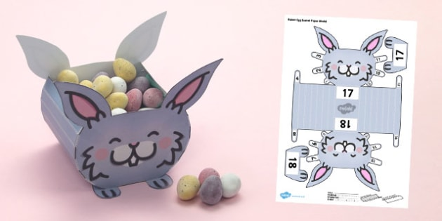 Rabbit Egg Basket Paper Model - paper, model, rabbit, egg, basket