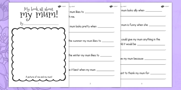 A Book About My Mum Writing Frame Template - mothers day, mum, writing template