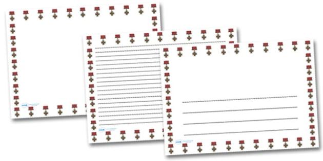 Victoria Cross Landscape Page Borders- Landscape Page Borders - Page border, border, writing template, writing aid, writing frame, a4 border, template, templates, landscape
