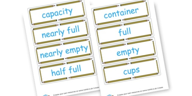 Capacity Vocabulary - KS2 Length Mass and Capacity Primary Resources, Shapes, Length