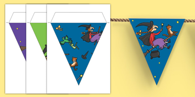 Bunting to Support Teaching on Room on the Broom - room on the broom, bunting, display bunting, bunting for display, classroom display, classroom bunting, themed bunting, display