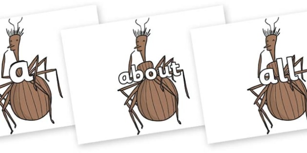 100 High Frequency Words on Miss Spider to Support Teaching on James and the Giant Peach - High frequency words, hfw, DfES Letters and Sounds, Letters and Sounds, display words