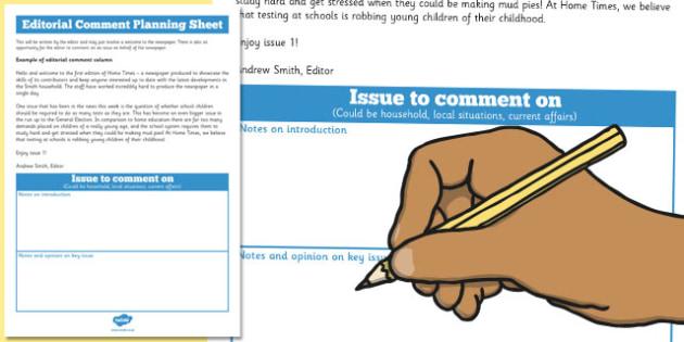 Newspaper Editorial Planning Sheet Editable - newspaper, edit
