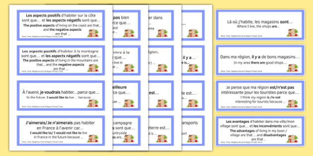 General Conversation Question Prompt Cards Home Town Neighbourhood and Region French-English-French-translation