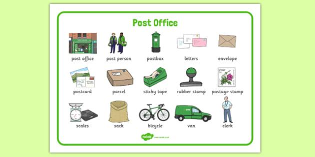 AN Post Office Word Mat -  roi, republic, ireland, irish, post, postal, mail, office, letters, parcel, send, sending, writing, write, literacy, english