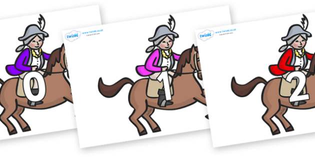 Numbers 0-31 on King's Horses - 0-31, foundation stage numeracy, Number recognition, Number flashcards, counting, number frieze, Display numbers, number posters