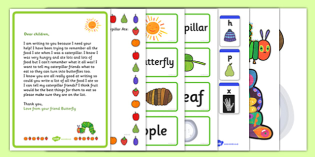 List Writing Activity Pack to Support Teaching on The Very Hungry Caterpillar - Eric Carle, minibeasts, butterfly