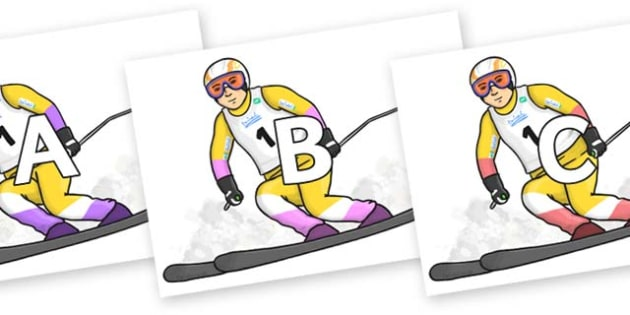 A-Z Alphabet on Alpine Skating - A-Z, A4, display, Alphabet frieze, Display letters, Letter posters, A-Z letters, Alphabet flashcards