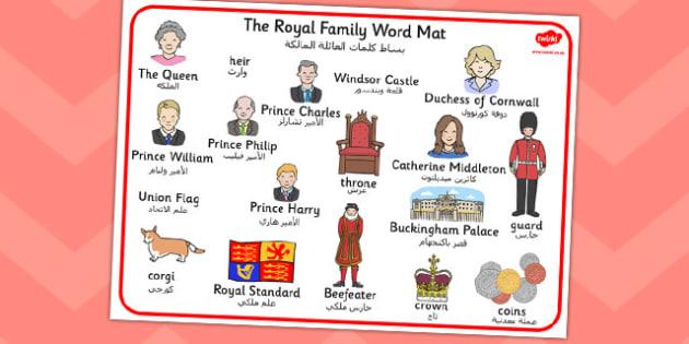Royal Family Word Mat Arabic Translation - arabic, royal family, word mat
