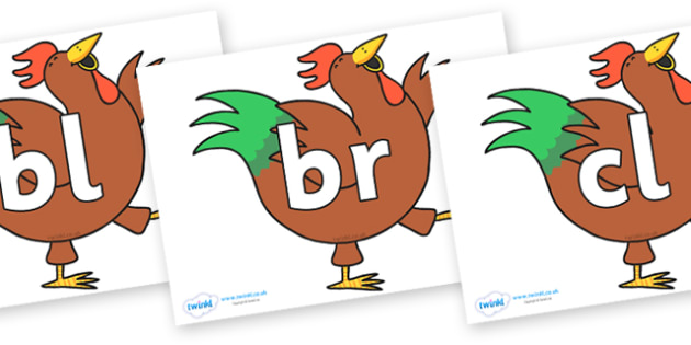 Initial Letter Blends on Hullabaloo Rooster to Support Teaching on Farmyard Hullabaloo - Initial Letters, initial letter, letter blend, letter blends, consonant, consonants, digraph, trigraph, literacy, alphabet, letters, foundation stage literacy