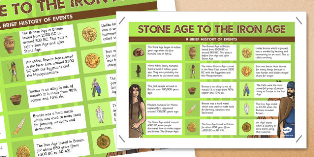 Stone Age to the Iron Age Facts Poster - stone, iron, age, facts