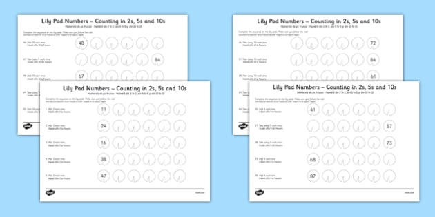 Lily Pad Counting in 2s, 5s and 10s Activity Sheets Romanian Translation - romanian, Counting, worksheet