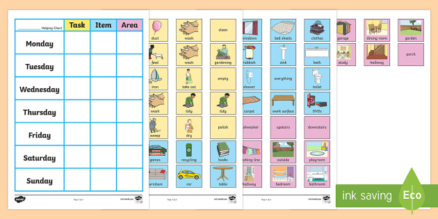 Chore Chart For Home - chore chart for home, chore, chart, home, helping chart, help, house, task, item, area, tidy, wash, clothes, bedroom, shower, bathroom, cleaning