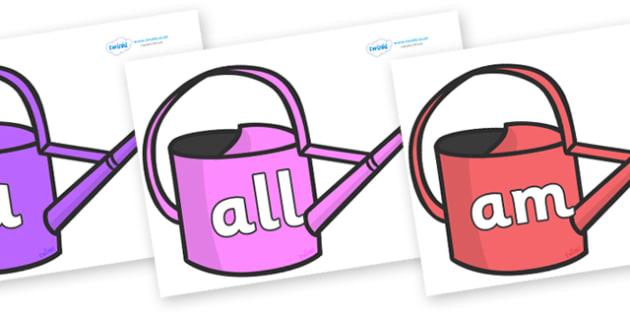 Foundation Stage 2 Keywords on Watering Cans - FS2, CLL, keywords, Communication language and literacy,  Display, Key words, high frequency words, foundation stage literacy, DfES Letters and Sounds, Letters and Sounds, spelling