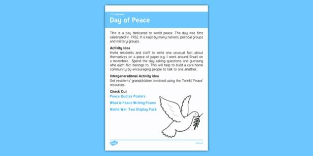 Elderly Care Calendar Planning September 2016 Day of Peace - Elderly Care, Calendar Planning, Care Homes, Activity Co-ordinators, Support, September 2016
