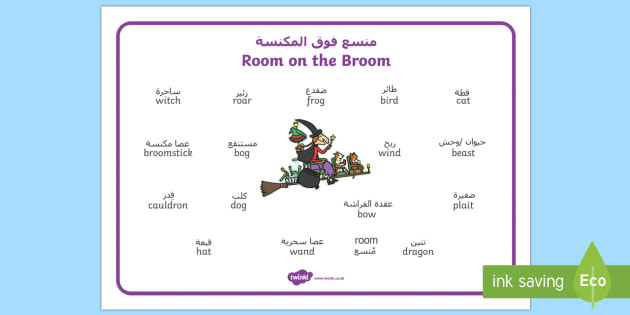 Word Mat to Support Teaching on Room on the Broom Arabic/English