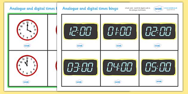 Analogue and Digital O' Clock Bingo - Time bingo, analogue, digital, time game, Time resource, Time vocaulary, clock face, Oclock, half past, quarter past, quarter to, shapes spaces measures, numeracy, time, clocks, analogue, digital, bingo