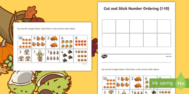 Fall Themed Cut and Stick 1-10 Number Ordering Leaves