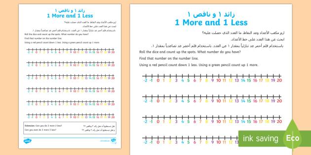 UAE One More One Less HA Activity Sheet Arabic/English - UAE EYFS Maths General, EYFS, Number, Counting, one more one less, worksheet, more, less, ,-translat