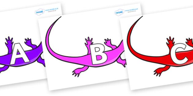A-Z Alphabet on Skink Lizards - A-Z, A4, display, Alphabet frieze, Display letters, Letter posters, A-Z letters, Alphabet flashcards