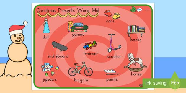 Australia Christmas Presents Word Mat - christmas, word mat, keywords, xmas
