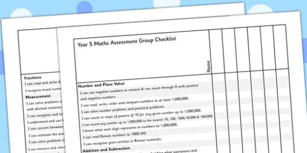 Year 5 Maths Assessment Group Checklist - maths, assessment