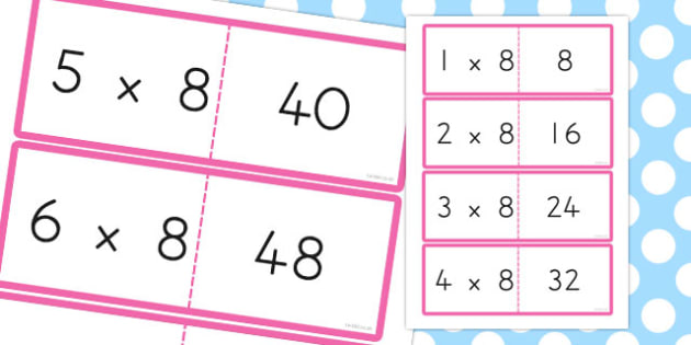 8 Times Table Cards - australia, times table, times tables, cards, 8, times