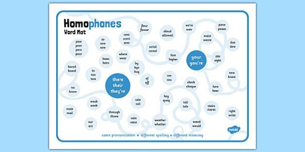 Homophones Word Mat - homophone, example, word, word mat, words