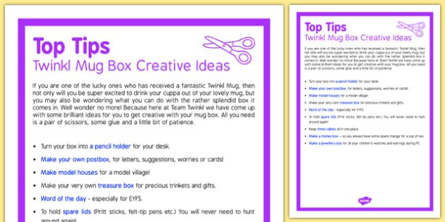 Twinkl Mug Box Creative Ideas Top Tips