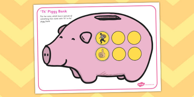 Th Phonics Piggy Bank Activity - th, phonics, piggy bank, activity