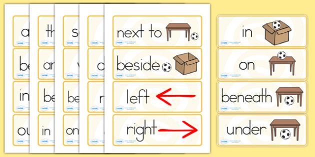 Positional Vocabulary Cards - vocabulary, card, literacy, english
