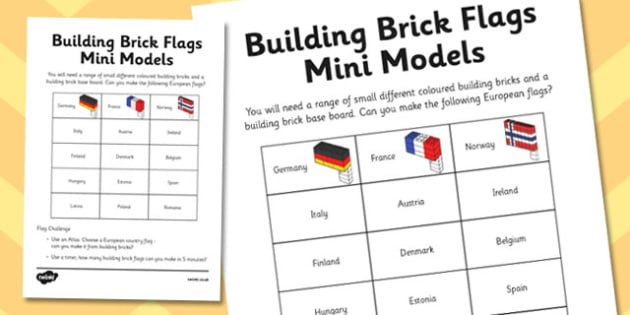 Building Brick Flags Activity Sheet, worksheet