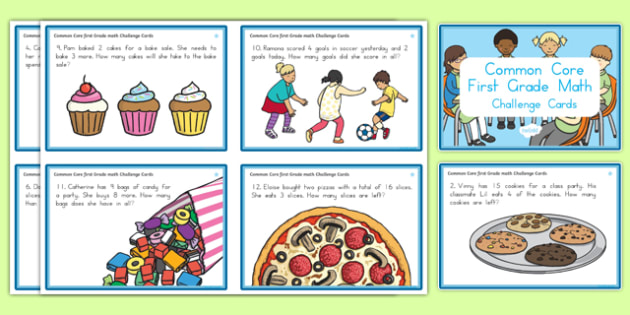 Common Core First Grade OA1 Math Task Challenge Cards