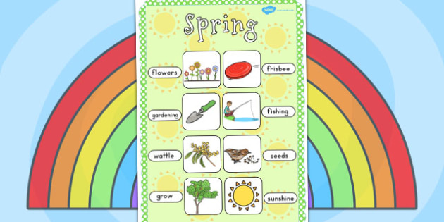 Spring Vocabulary Poster - Seasons, spring, display, posters