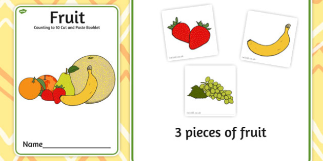 Fruit Counting to 10 Cut and Paste Booklet - fruit, counting