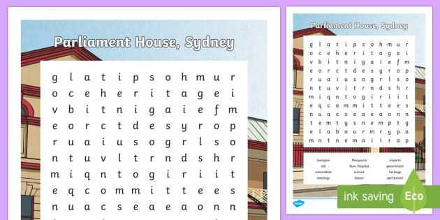 Sydney's Parliament House Word Search - Sydney Australia, parliament house, word search, find a word, fun, activity, spelling, vocabulary, w