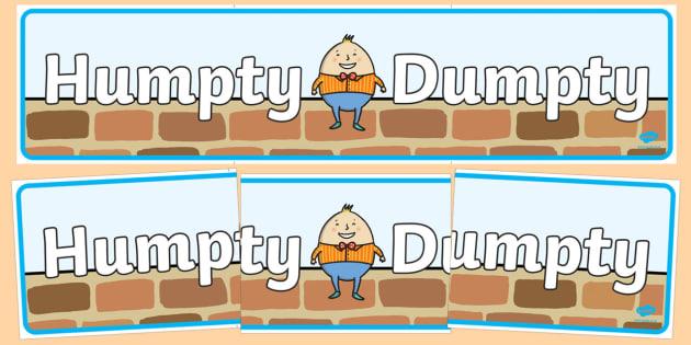 Humpty Dumpty Display Banner - Humpty Dumpty, Small World, backdrop, background, scenery, small world area, small world display, small world resources, nursery rhyme, rhyme, rhyming, nursery rhyme story, nursery rhymes, position, Humpty Dumpty resour